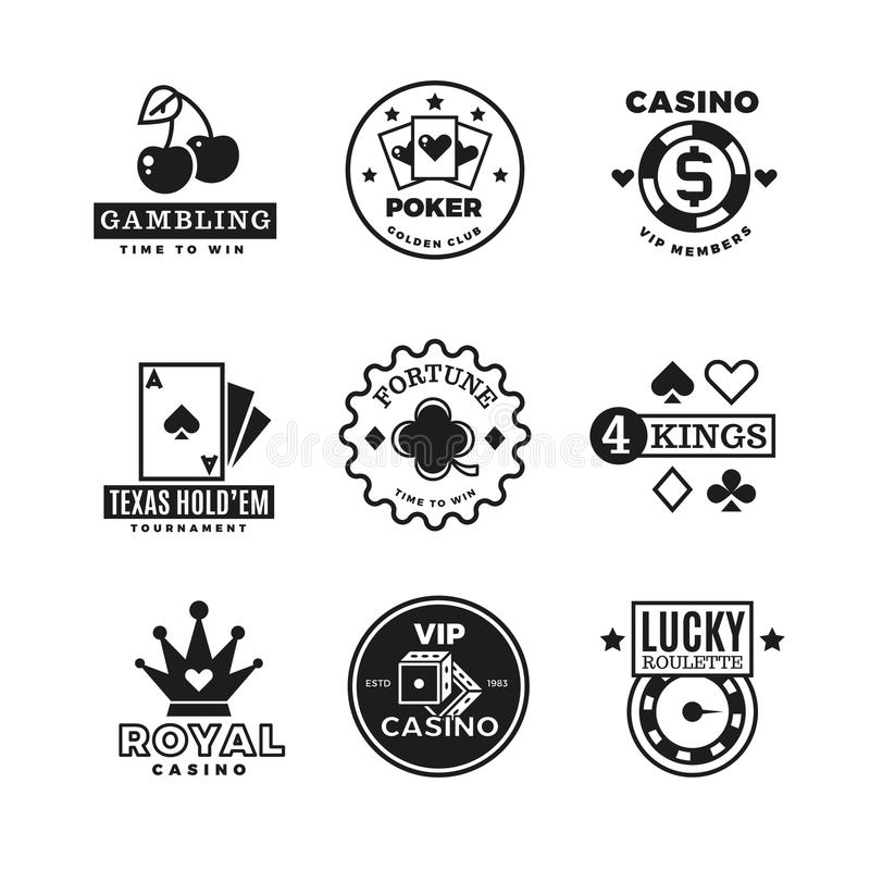 Vintage gambling, casino, poker royal tournament, roulette vector labels, emblems, logos and badges stock illustration