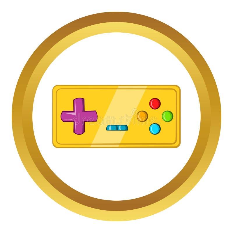 Vintage game joystick icon, cartoon style. Vintage game joystick icon in golden circle, cartoon style isolated on white background royalty free illustration