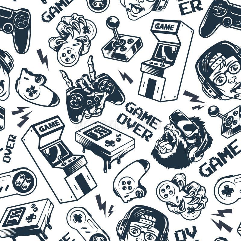 Vintage gaming seamless pattern stock illustration