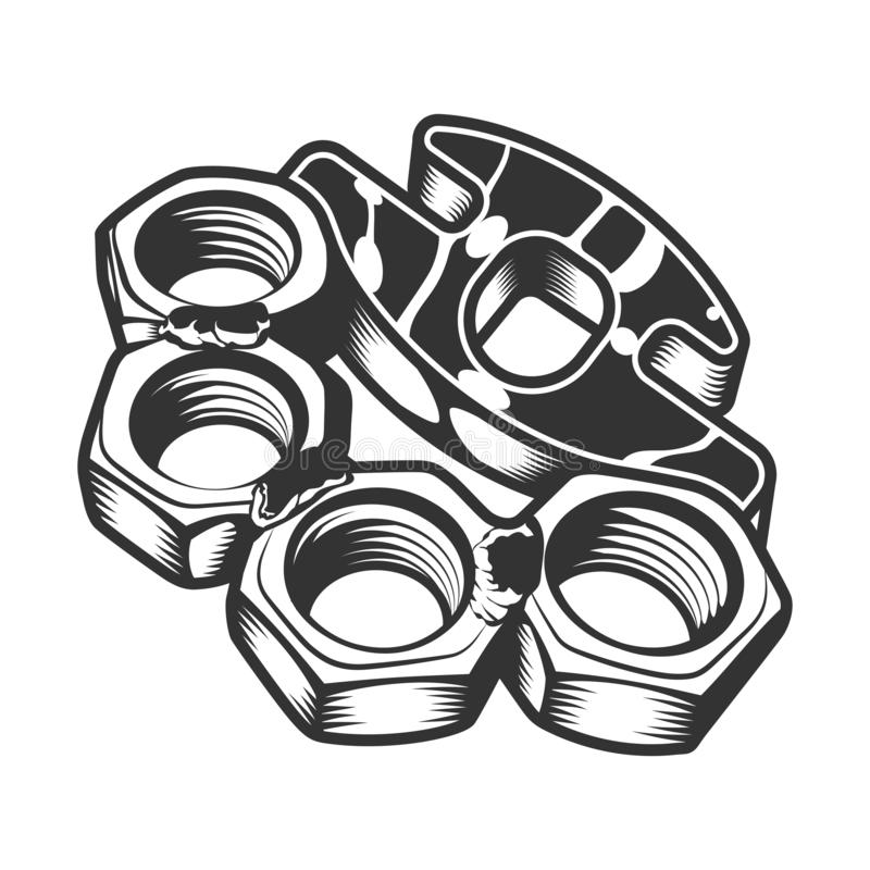 Vintage gangster metal brass knuckles andtemplate in monochrome style isolated vector illustration royalty free illustration