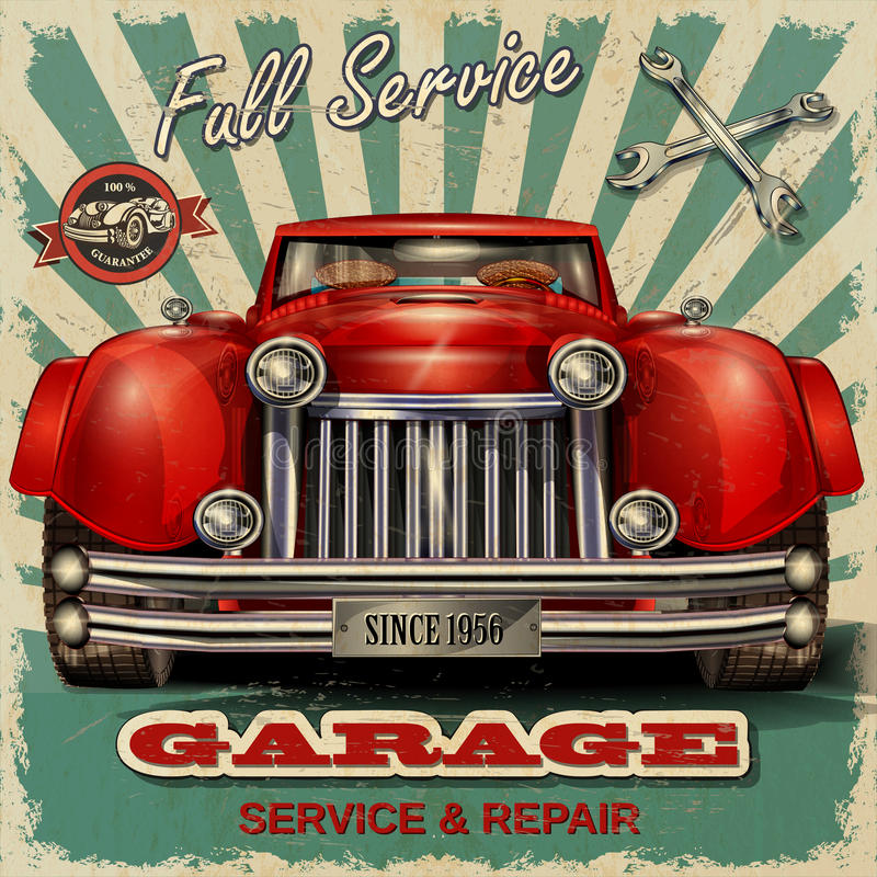 Vintage garage retro poster royalty free illustration