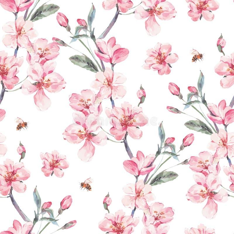 Vintage garden vector spring seamless background vector illustration