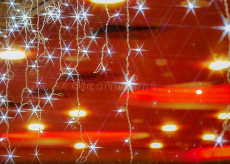 Vintage garland with stars lens flares stock photo