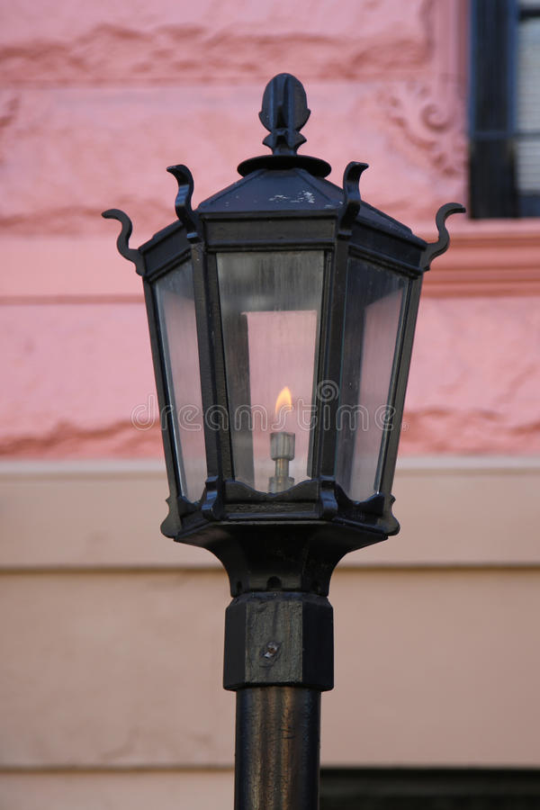 Vintage gas lamp in the front of New York City brownstone royalty free stock image