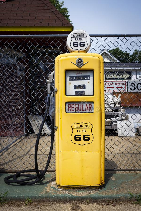 A vintage gas pump at The Old Service Station along the historic route 66 in Williamsville. Williamsville, Illinois, USA - July 5, 2014: A vintage gas pump at royalty free stock images