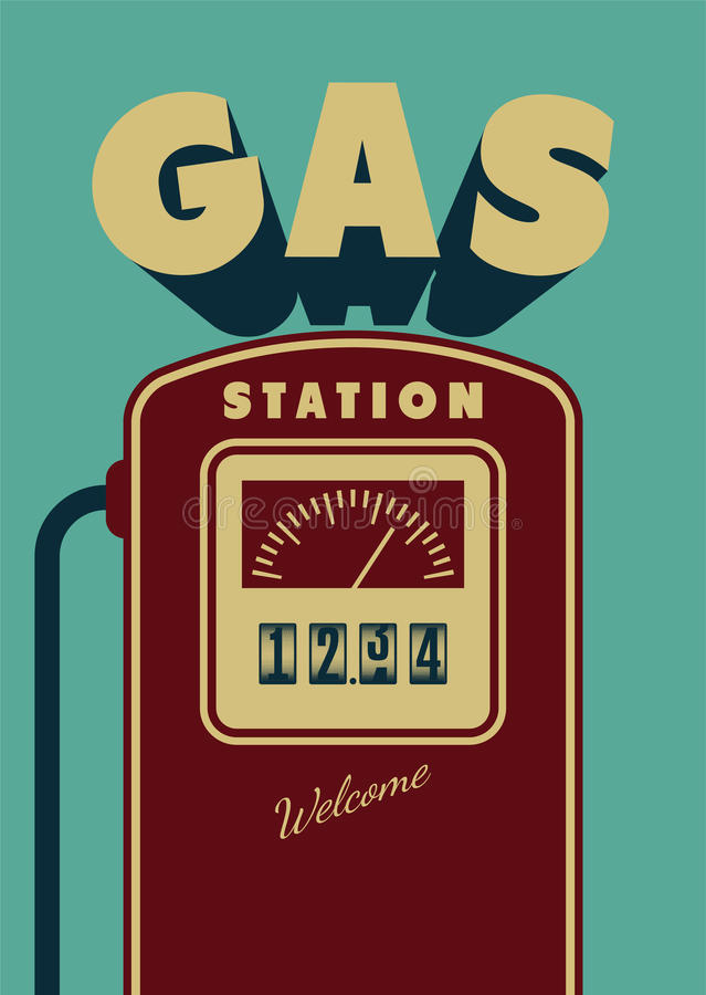 Vintage Gas Station poster design. Retro vector illustration. royalty free illustration