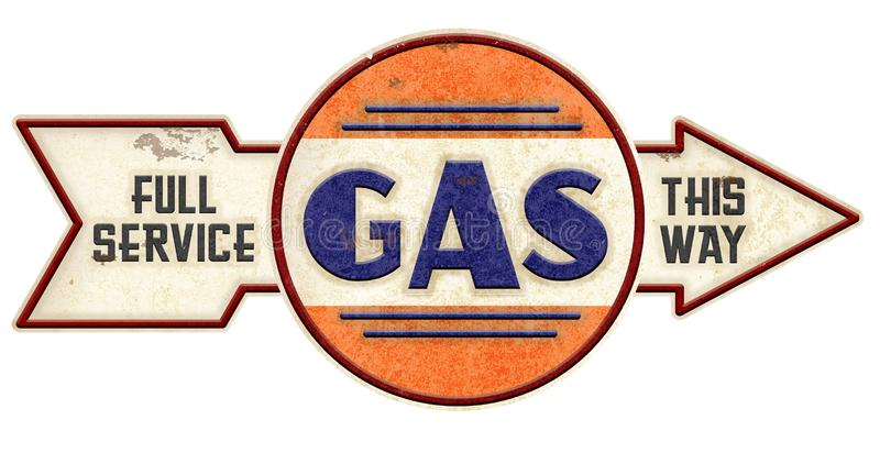 Old Gasoline Sign with Arrow. Vintage Gas Station Sign with arrow full service Hancock style grunge antique retro stock photo