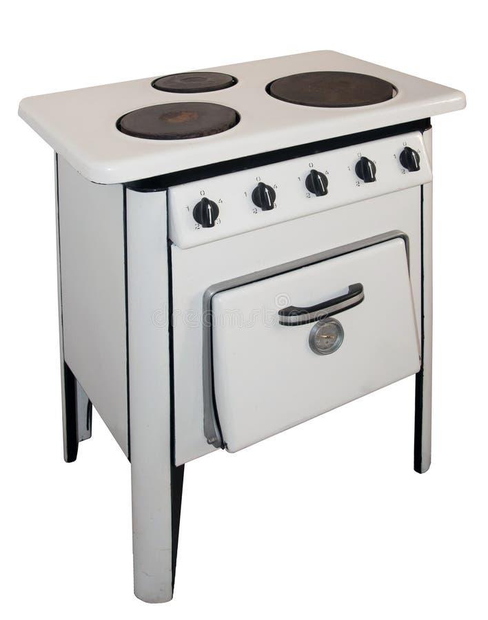 Vintage gas stove - Isolated on white stock photos