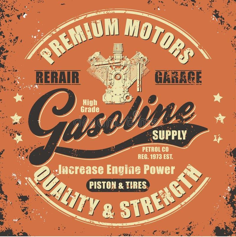 Vintage gasoline retro label royalty free illustration