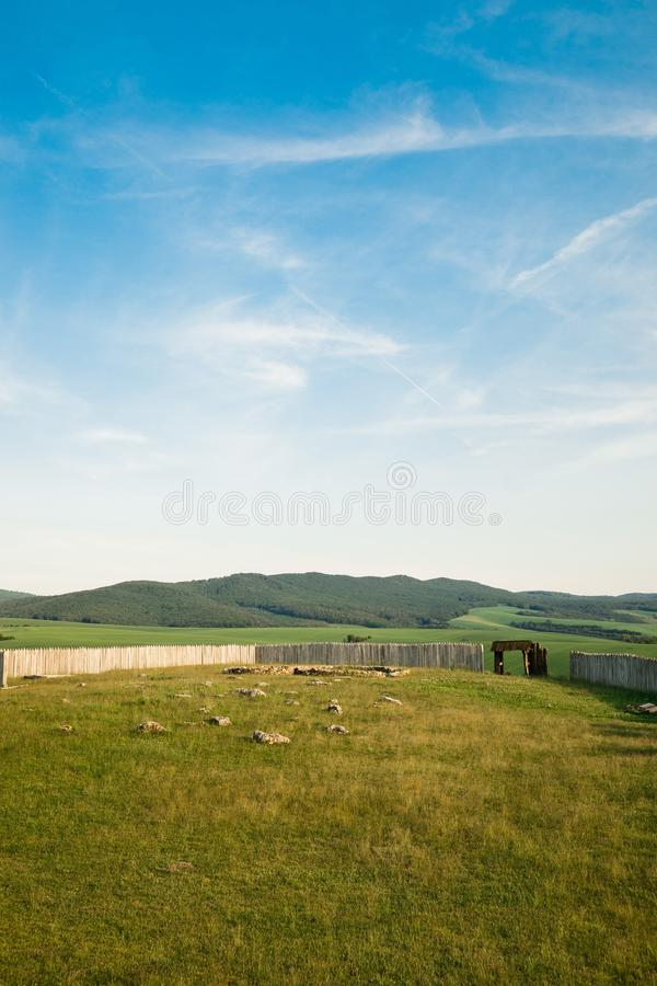 Vintage gateway, ancient city wooden gate royalty free stock photo