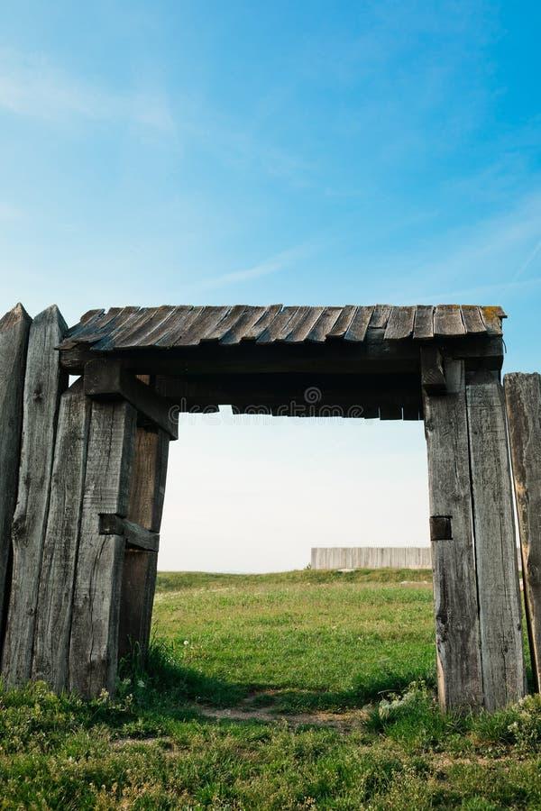 Vintage gateway, ancient city wooden gate stock illustration