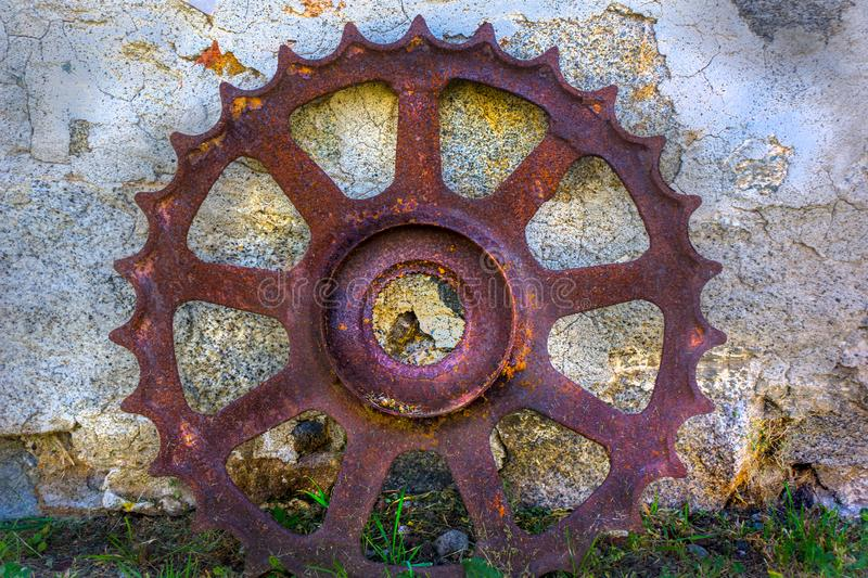 Vintage Gear Wheel Mill Stone royalty free stock image