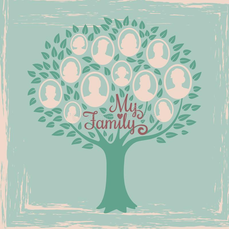 Vintage genealogy tree. Genealogical family tree vector illustration. Genealogical history, family tree togetherness stock illustration