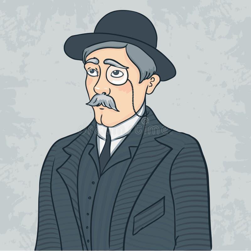 Vintage gentleman in black bowler hat royalty free illustration