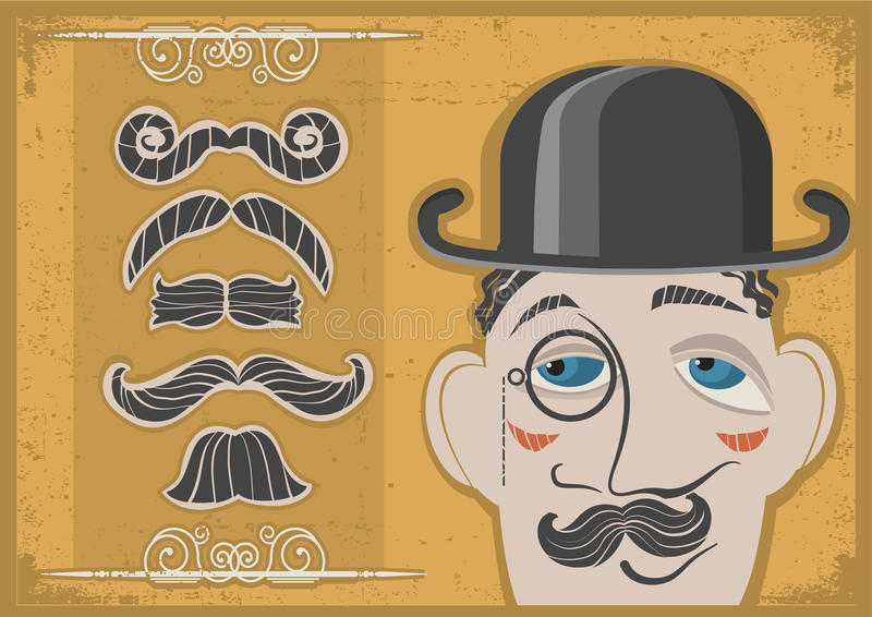Vintage Gentleman Face In Bowler Hat And Mustaches Stock Image