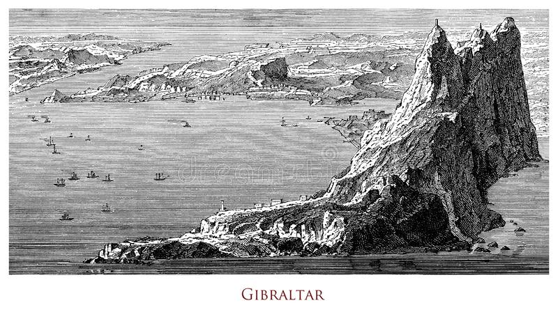 Vintage geographical image, Gibraltar Rock stock images