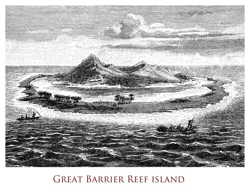 Vintage geographical image, Great Barrier Reef stock image