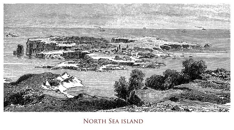 Vintage geographical image, island in the North Sea royalty free stock images