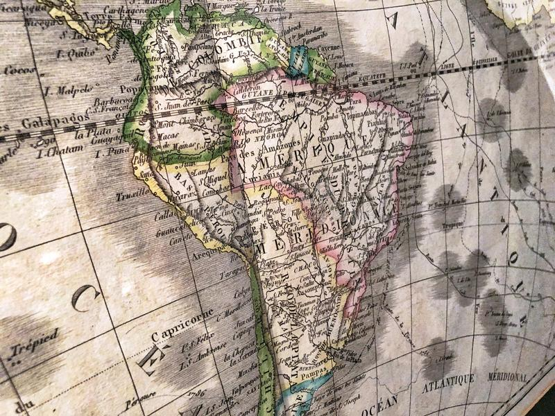 Old map of South America, perspective royalty free stock photo