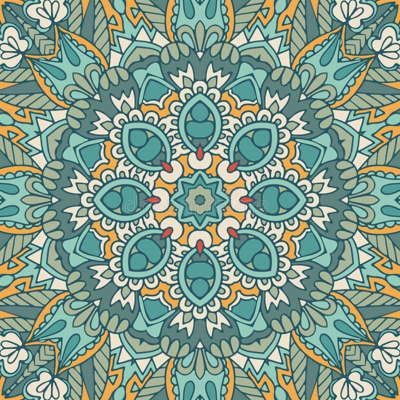 Vintage geometric tiles bohemian ethnic seamless pattern ornamental. Hand drawn graphic print vector illustration