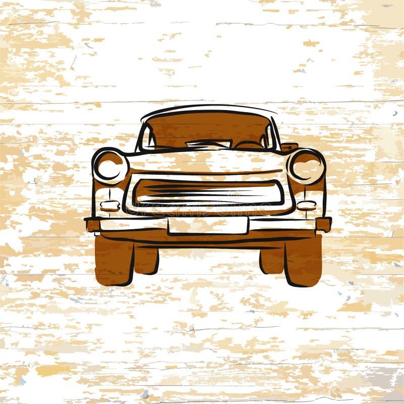 Vintage german car icon on wooden background stock illustration