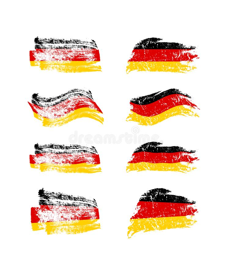 Vintage German flag set. Vector painted with brush flags of Germany. royalty free illustration