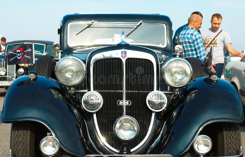Vintage Germany car Audi 220, 1934 on Festival of Retro Technics Fortuna. Front view. Russia, St. Petersburg, September 8, 2018: Vintage Germany car Audi 220 stock photo
