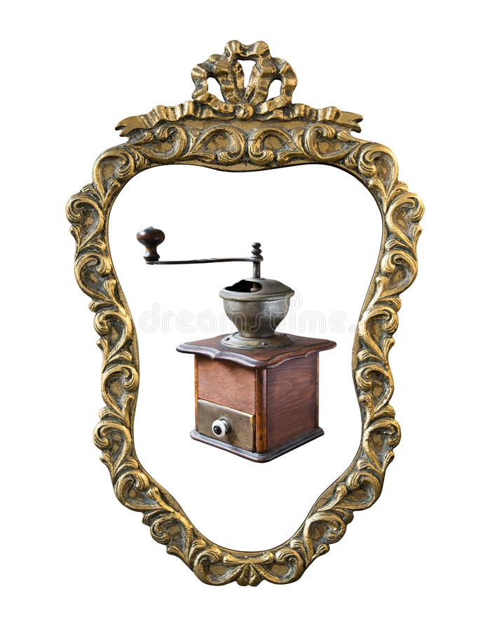 Vintage gilded frame with an ornament coffee grinder isolated on white. Retro style stock image