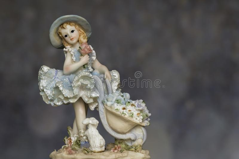 Vintage Girl with bunny in Petticoat stock image