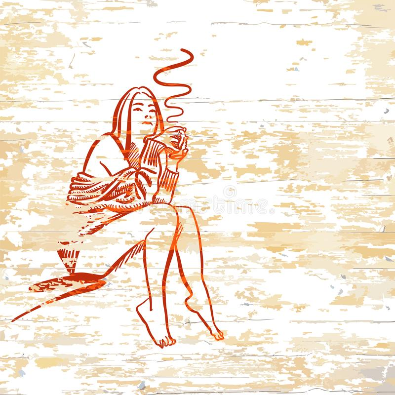 Vintage girl drinking coffee on wooden background stock illustration