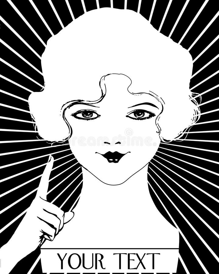 Download Vintage Girl Roaring 20's Flapper Woman Stock Illustration - Illustration: 12498925