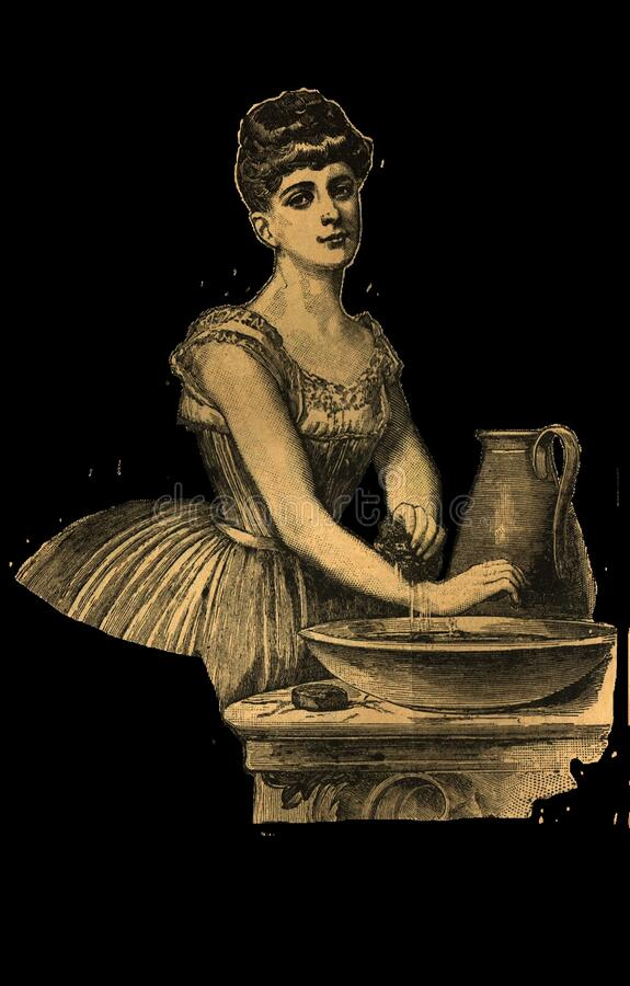 Vintage Girl Washing Hands Transparent Free Public Domain Cc0 Image