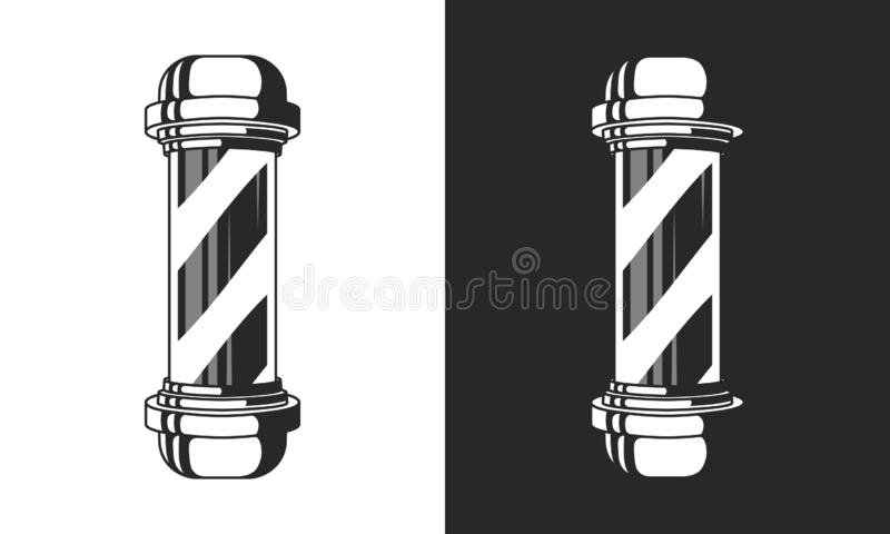 Vintage glass Barbershop pole isolated on white and black background. Barber Shop pole sign, icon. Vector element for design logo, stock illustration