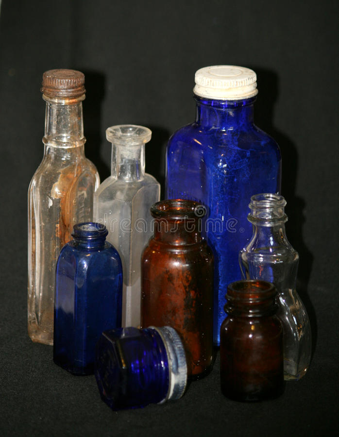 Vintage Glass Bottles stock image
