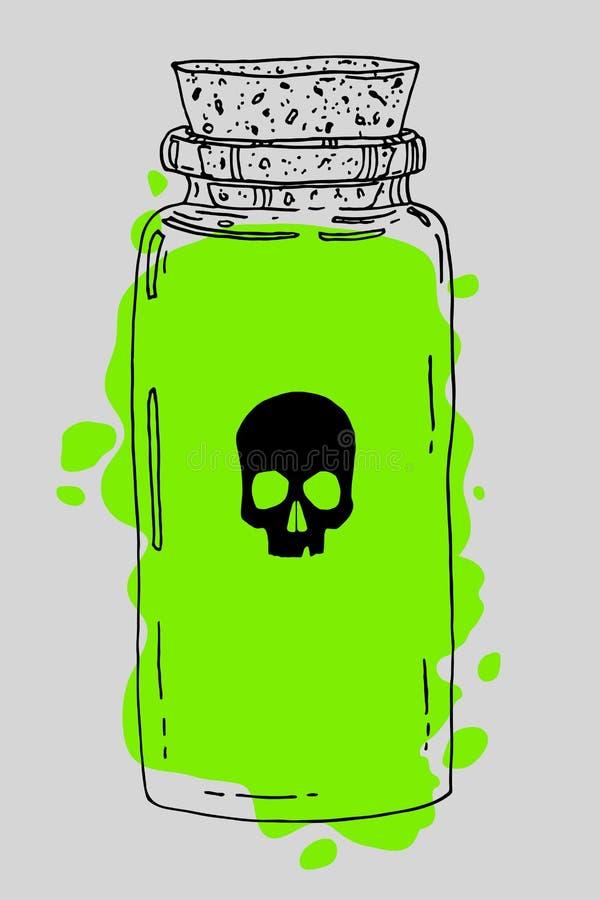 Poison hand drawn jar stock illustration