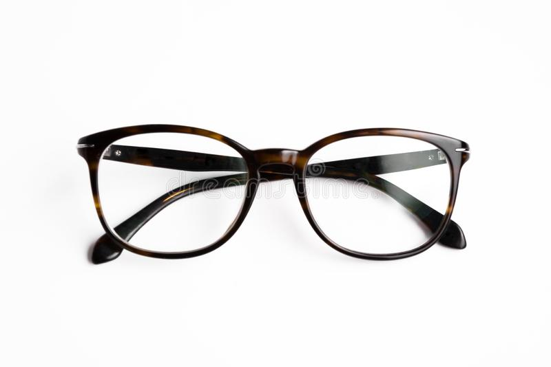 Vintage glasses top view isolated on white background.  royalty free stock photography