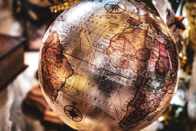 Vintage globe background retro brown speia travel geography ancient map stock photo