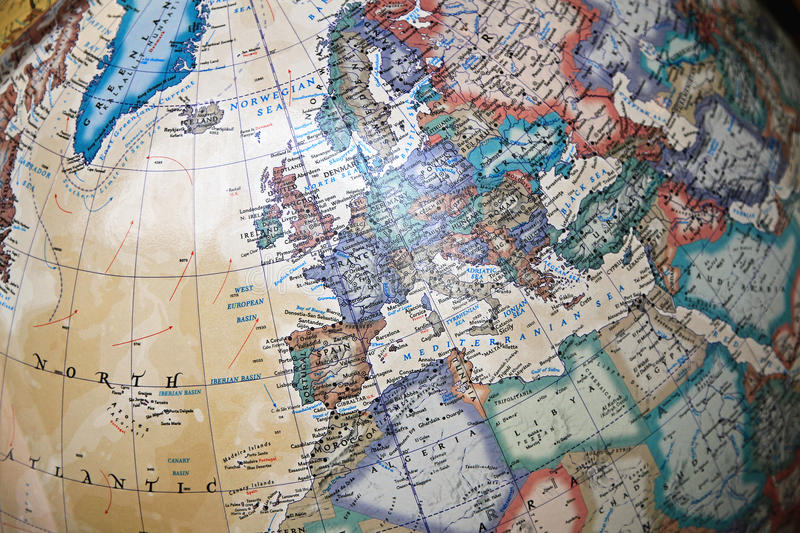 Vintage globe map. Of Europe and Middle East stock image