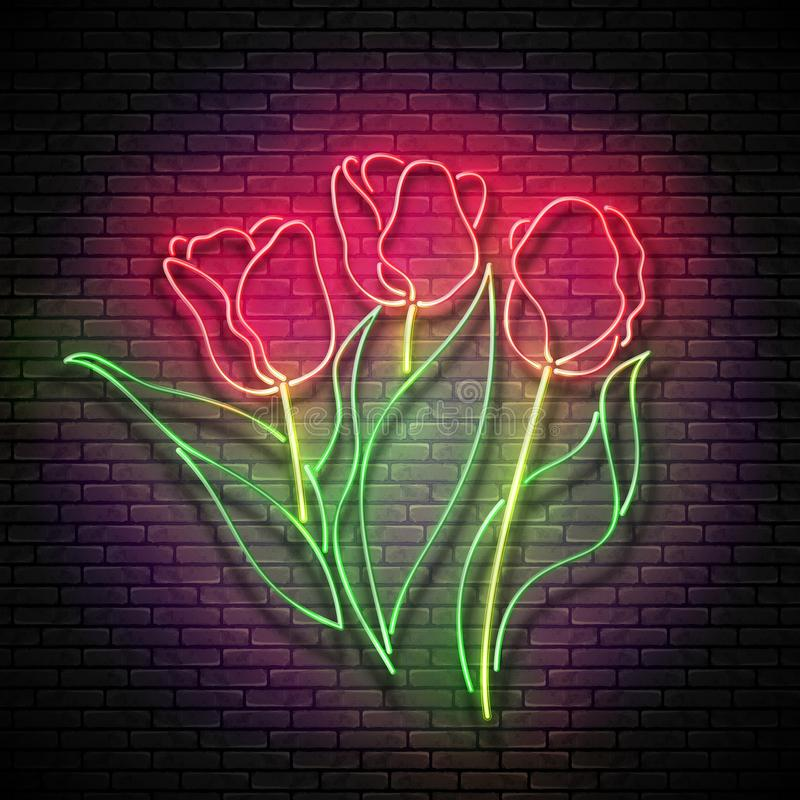 Vintage Glow Signboard with Bouquet of Tulips. Flowers on Brick Wall, Greeting Card Template. Shiny Neon Light Poster, Flyer, Banner, Postcard, Invitation stock illustration