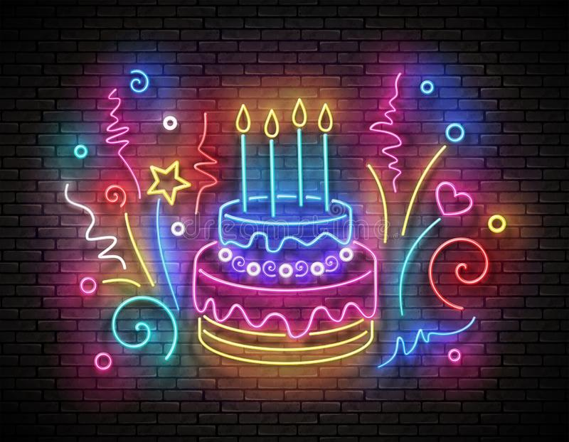 Vintage Glow Signboard with Cake, Candles and Confetti. Holiday Flyer, Happy Birthday Greeting Card. Neon Light Poster, Banner, Invitation. Brick Wall. Vector royalty free illustration