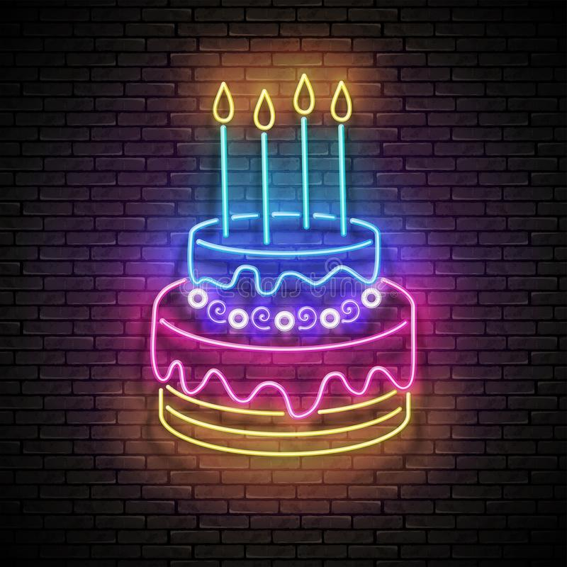 Vintage Glow Signboard with Cake and Candles. Holiday Flyer, Happy Birthday Greeting Card. Neon Light Poster, Banner, Invitation. Seamless Brick Wall. Vector vector illustration