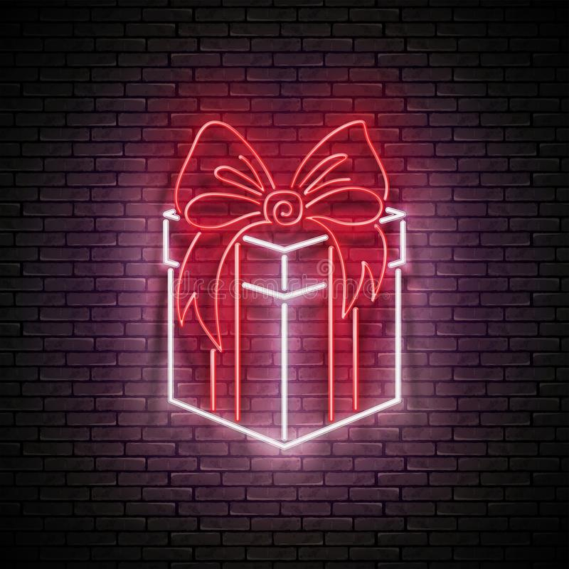 Vintage Glow Signboard with Gift and Bow. Sale Flyer, Happy Birthday Greeting Card. Shiny Neon Light Poster, Banner, Invitation. Seamless Brick Wall. Vector 3d stock illustration