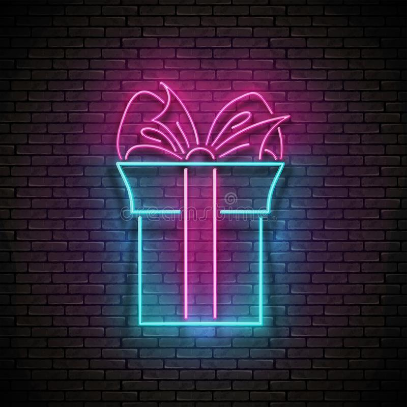 Vintage Glow Signboard with Gift and Bow. Sale Flyer, Happy Birthday Greeting Card. Shiny Neon Light Poster, Banner, Invitation. Seamless Brick Wall. Vector 3d stock photography