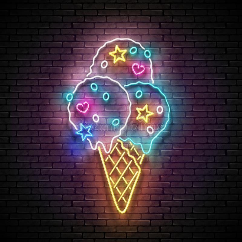 Vintage Glow Signboard with Ice Cream Balls in Cone and Candies. Cafe Flyer Template. Shiny Neon Light Poster, Banner, Invitation. Seamless Brick Wall. Vector stock illustration