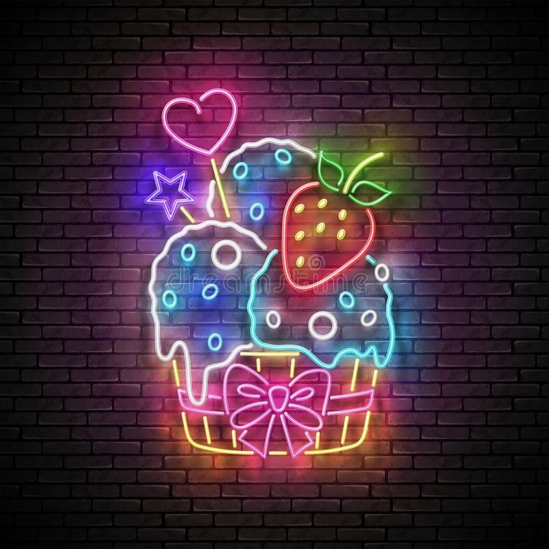 Vintage Glow Signboard with Ice Cream Balls and Strawberry in Paper Cup. Cafe Flyer Template. Neon Light Poster, Banner, Invitation. Seamless Brick Wall stock illustration