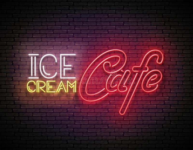 Vintage Glow Signboard with Ice Cream Café Inscription. Neon Retro Lettering. Template for Flyer, Poster, Banner, Playbill, Invitation. Brick Wall. Vector vector illustration