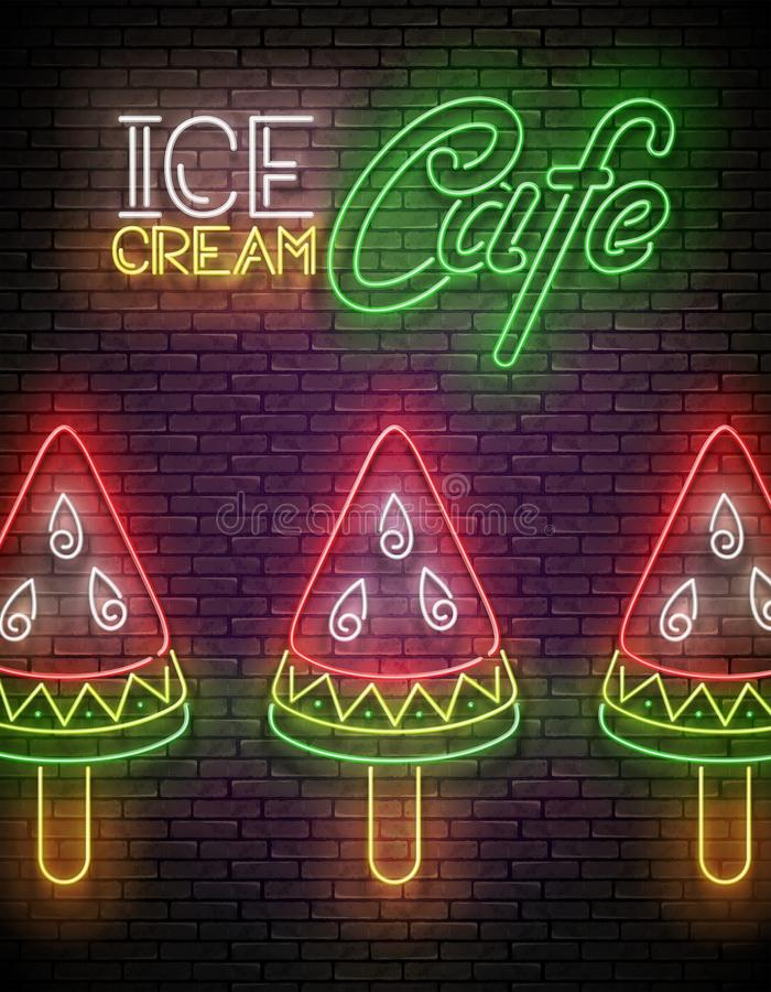 Vintage Glow Signboard with Ice Cream, Watermelon Piece. Frozen Fruit, Sorbet. Neon Template for Flyer, Poster, Banner, Playbill, Invitation. Seamless Brick royalty free illustration