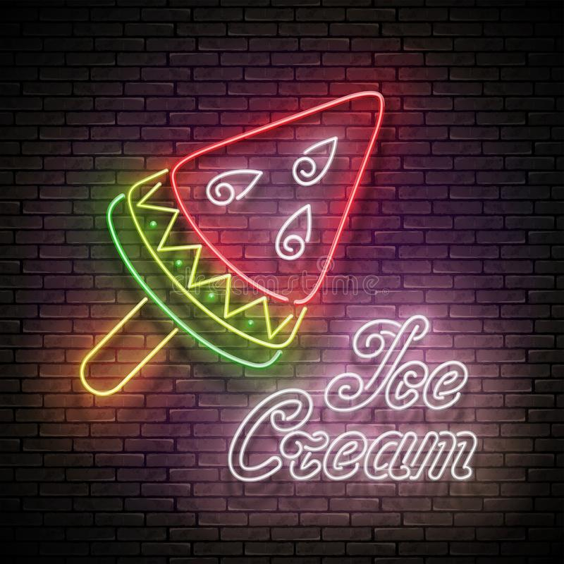 Vintage Glow Signboard with Ice Cream, Watermelon Piece. Frozen Fruit, Sorbet. Neon Template for Flyer, Poster, Banner, Playbill, Invitation. Seamless Brick stock photography