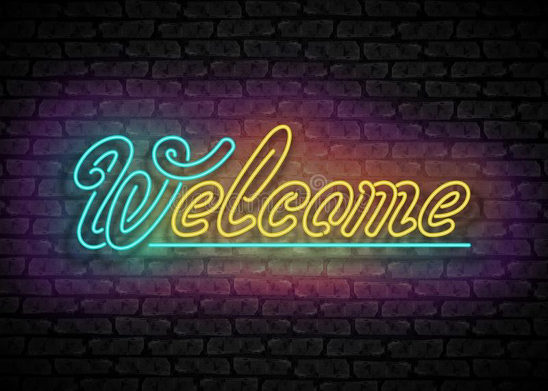 Vintage Glow Signboard with Welcome Inscription. Lamps in Swirly Shapes. Shiny Neon Light Style, Hand Drawn Lettering. Advertisement Flyer. Vector 3d royalty free illustration