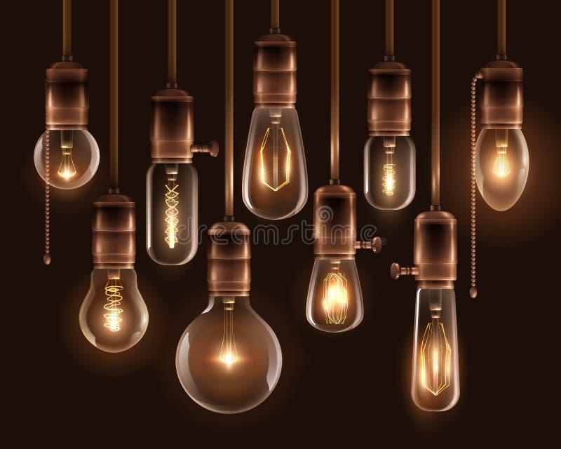 Vintage Glowing Light Bulbs Icon Set royalty free illustration